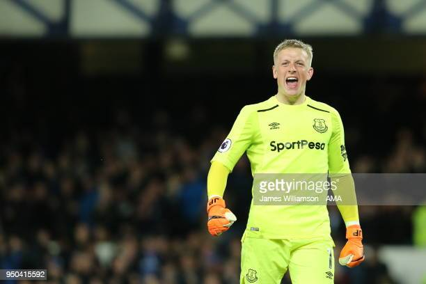 A delighted Jordan Pickford of Everton celebrates after Theo Walcott of Everton scored a goal to make it 10 during the Premier League match between...