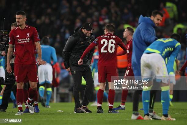 A delighted Liverpool manager head coach Jurgen Klopp and Andrew Robertson of Liverpool during the UEFA Champions League Group C match between...