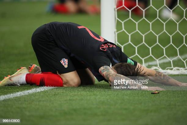 Delighted Sime Vrsaljko of Croatia after reaching the World Cup final during the 2018 FIFA World Cup Russia Semi Final match between England and...