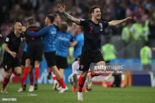 Delighted Sime Vrsaljko of Croatia as Croatia reach the world cup final during the 2018 FIFA World Cup Russia Semi Final match between England and...