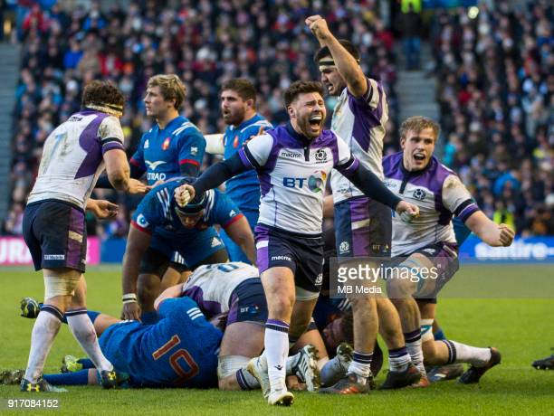 A delighted Stuart McInally as Scotland beat the French 3226 during the NatWest Six Nations match between Scotland and France at Murrayfield on...