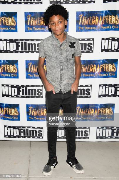 DeLijah McAlpin arrives at The Artists Project Hosts Portraits For The Premiere of Timecrafters on November 17 2020 in Los Angeles California