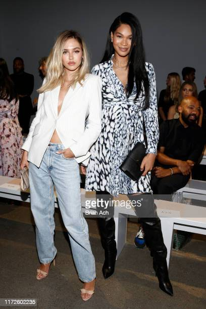 Delilah Belle Hamlin and Chanel Iman attend the Ellie Tahari front row during New York Fashion Week: The Showsat Gallery II at Spring Studios on...