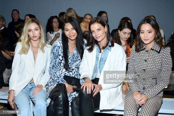 Delilah Belle Hamlin, Chanel Iman, Katie Holmes and Jamie Chung attend the Ellie Tahari front row during New York Fashion Week: The Showsat Gallery...