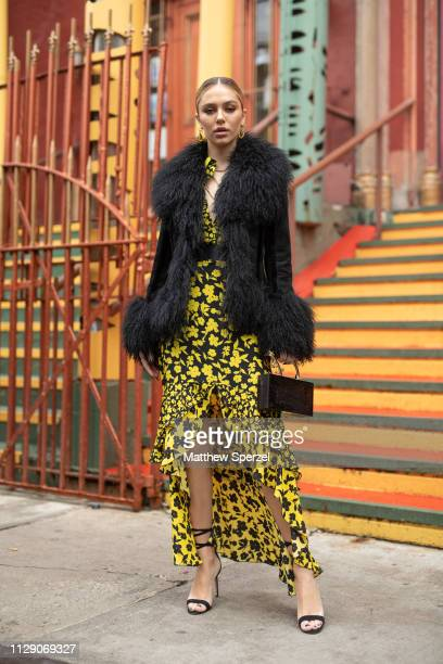 Delilah Belle Hamlin is seen on the street during New York Fashion Week AW19 wearing Alice Olivia on February 11 2019 in New York City