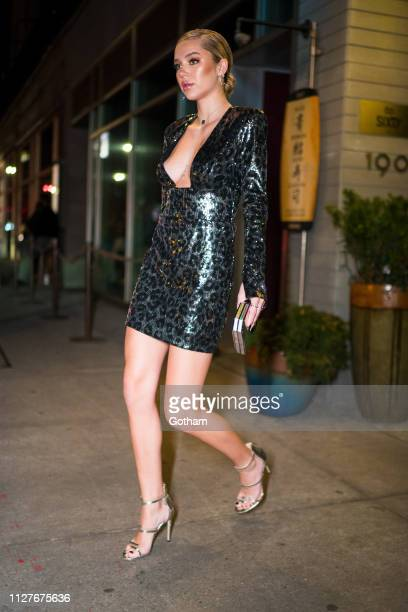 Delilah Belle Hamlin is seen wearing a Dundas dress with Sergio Rossi shoes Amanda Pearl clutch and Ilene Joy jewelry in the Lower East Side on...