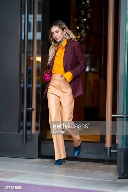 Delilah Belle Hamlin is seen wearing Salvatore Ferragamo in SoHo on December 05 2018 in New York City