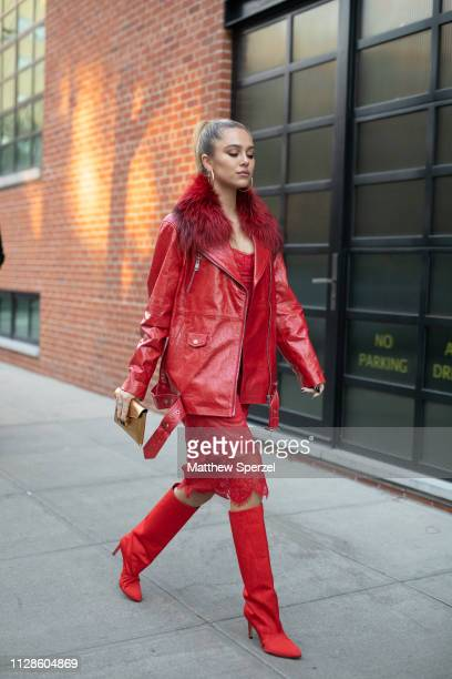 Delilah Belle is seen on the street during New York Fashion Week AW19 wearing Jonathan Simkhai on February 09, 2019 in New York City.