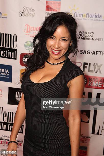 Delilah Cotto arrives at the 11th Annual LA Femme International Film Festival awards show and gala at The Los Angeles Theatre Center on October 18...