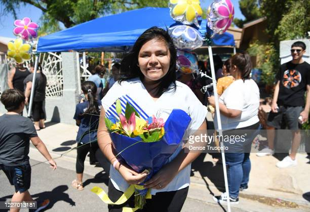 Delilah Juarez celebrates her birthday during a birthday parade hosted by Tyler Robinson Foundation in front of her home on May 25 2020 in Las Vegas...