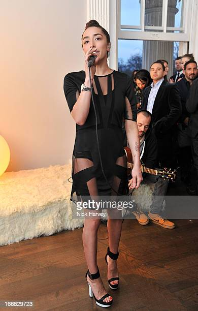 Delilah performs as Molton Brown and Giles Deacon launch a collaboration at the ICA on April 17 2013 in London England