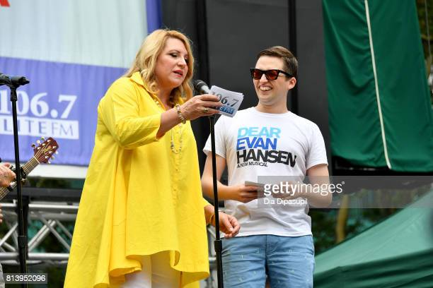 Delilah Rene and Will Roland speak onstage at 1067 LITE FM's Broadway in Bryant Park 2017 at Bryant Park on July 13 2017 in New York City