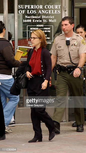 Delinah Blake daughter of actor Robert Blake leaves her father's bail hearing at Los Angeles Superior Court Bail was denied