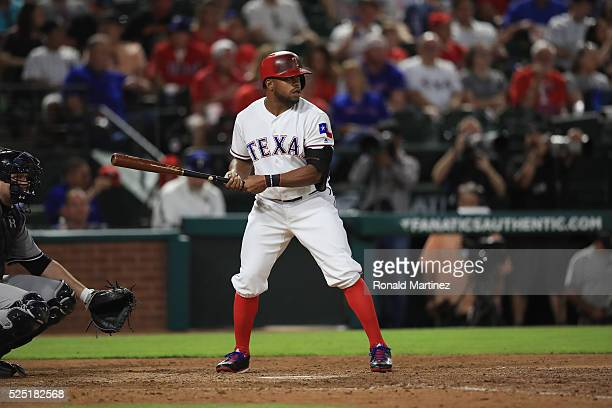 Delino DeShields of the Texas Rangers at Globe Life Park in Arlington on April 27 2016 in Arlington Texas