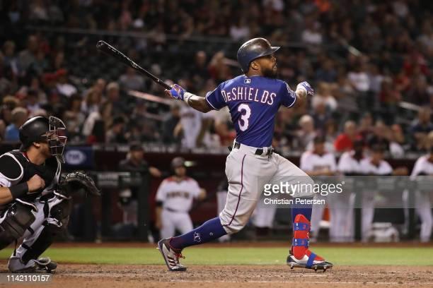 Delino DeShields of the Texas Rangers bats against the Arizona Diamondbacks during the MLB game at Chase Field on April 10 2019 in Phoenix Arizona...