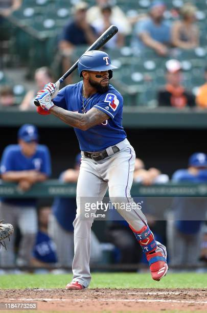 Delino DeShields of the Texas Rangers bats against the Baltimore Orioles at Oriole Park at Camden Yards on September 8 2019 in Baltimore Maryland