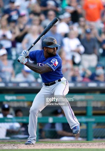 Delino DeShields of the Texas Rangers bats against the Detroit Tigers at Comerica Park on July 7 2018 in Detroit Michigan