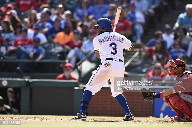 Delino DeShields of the Texas Rangers bats against the Los Angeles Angels of Anaheim at Globe Life Park in Arlington on May 1 2016 in Arlington Texas...