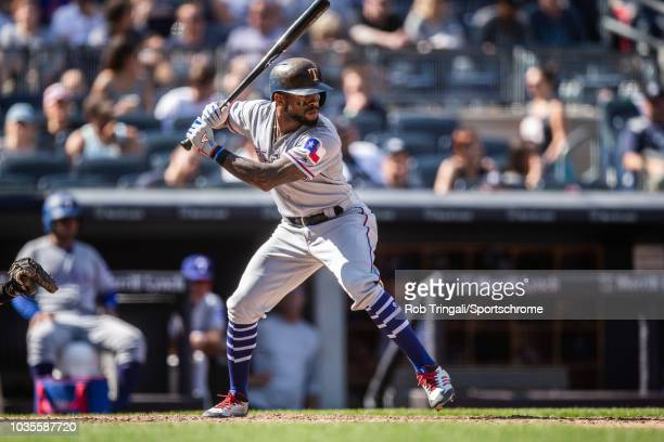 Delino DeShields of the Texas Rangers bats during the game against the New York Yankees at Yankee Stadium on Sunday August 12 2018 in the Bronx...