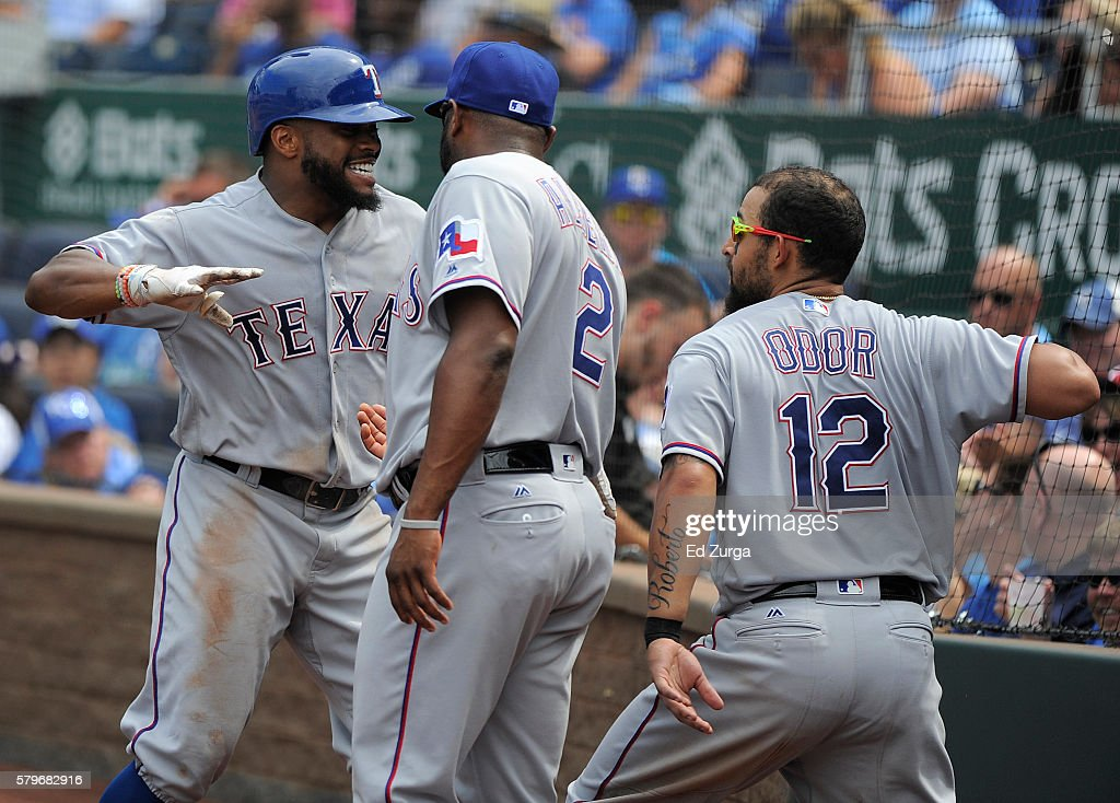 Delino DeShields #3 of the Texas Rangers celebrates his home run with Hanser Alberto #2 and Rougned Odor #12 in the seventh inning against the Kansas City Royals at Kauffman Stadium on July 24, 2016 in Kansas City, Missouri.