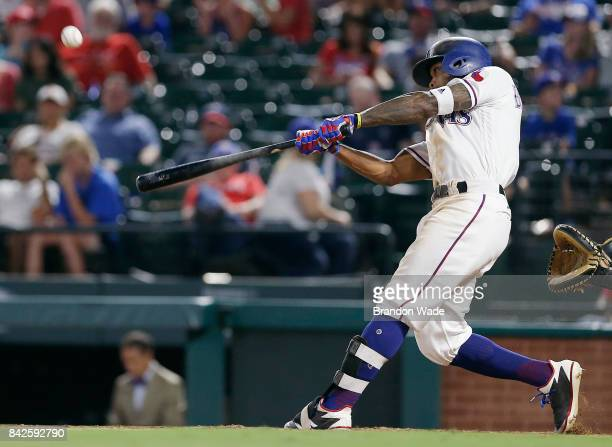 Delino DeShields of the Texas Rangers flys out to left field during the ninth inning of a baseball game against the Los Angeles Angels of Anaheim at...
