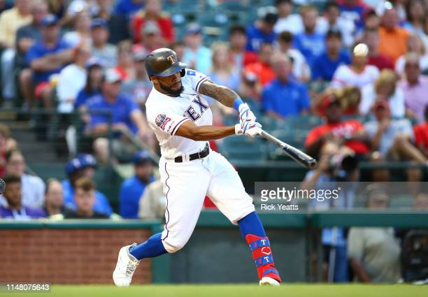 Delino DeShields of the Texas Rangers hits a single in the third inning against the Baltimore Orioles at Globe Life Park in Arlington on June 4 2019...