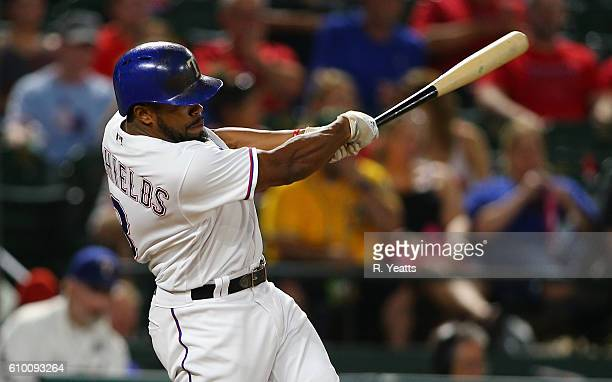 Delino DeShields of the Texas Rangers hits in the eight inning at Globe Life Park in Arlington on September 17 2016 in Arlington Texas