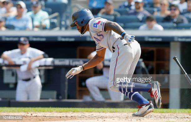 Delino DeShields of the Texas Rangers in action against the New York Yankees at Yankee Stadium on August 12 2018 in the Bronx borough of New York...