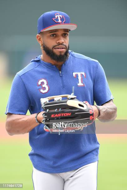 Delino DeShields of the Texas Rangers looks on during batting practice of a baseball game against the Baltimore Orioles at Oriole Park at Camden...