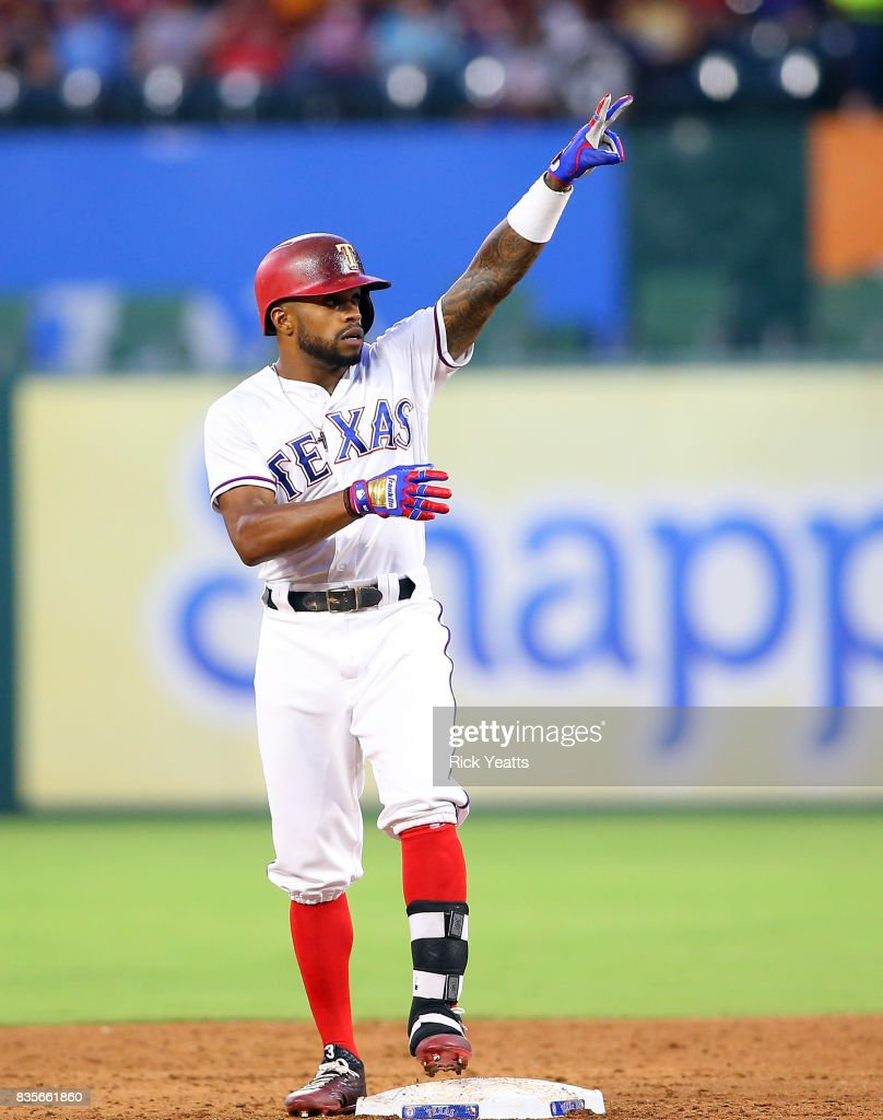 Delino DeShields #3 of the Texas Rangers points to the dugout after hitting a double against the Chicago White Sox at Globe Life Park in Arlington on August 19, 2017 in Arlington, Texas.