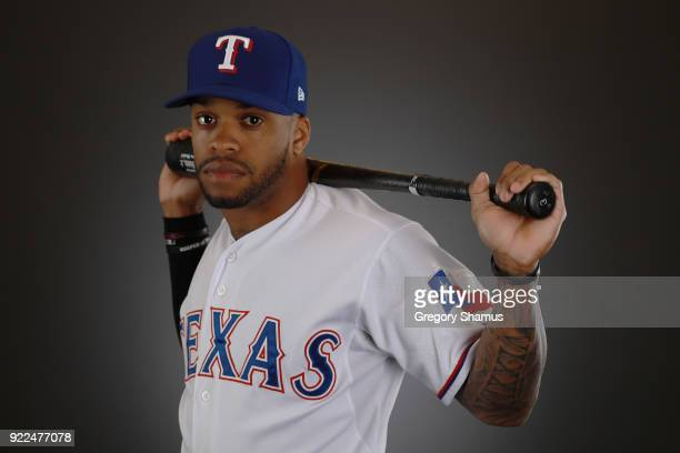 Delino DeShields of the Texas Rangers poses during Texas Rangers Photo Day at the Surprise Stadium training facility on February 21 2018 in Surprise...