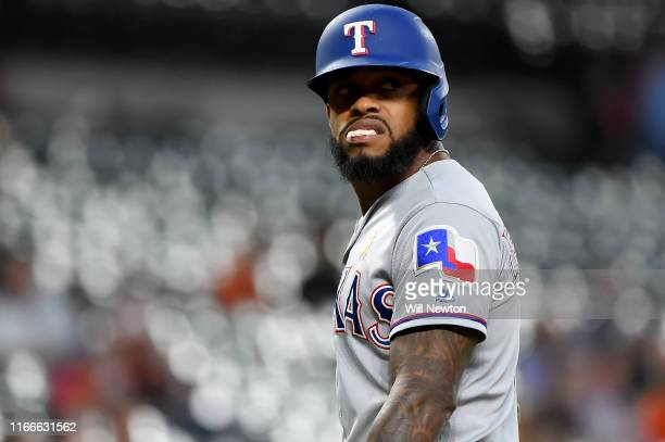 Delino DeShields of the Texas Rangers reacts after striking out during the first inning against the Baltimore Orioles at Oriole Park at Camden Yards...