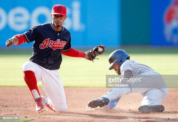 Delino DeShields of the Texas Rangers steals second base as Francisco Lindor of the Cleveland Indians attempts to tag him during the third inning at...