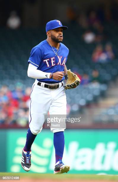 Delino DeShields of the Texas Rangers warms up before the game against the Oakland Athletics at Globe Life Park in Arlington on April 24 2018 in...