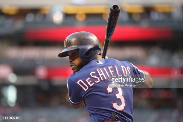 Delino DeShields of the Texas Rangers warms up before the MLB game against the Arizona Diamondbacks at Chase Field on April 10 2019 in Phoenix Arizona
