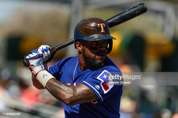 Delino DeShields of the Texas Rangers warms up for the spring training game against the Oakland Athletics at HoHoKam Stadium on March 05 2019 in Mesa...