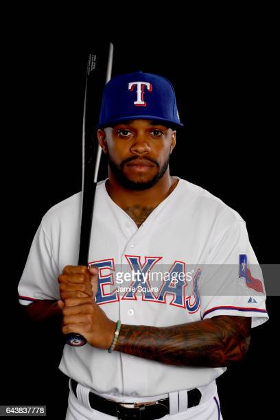 Delino DeShields poses on Texas Rangers Photo Day during Spring Training on February 22 2017 in Surprise Arizona
