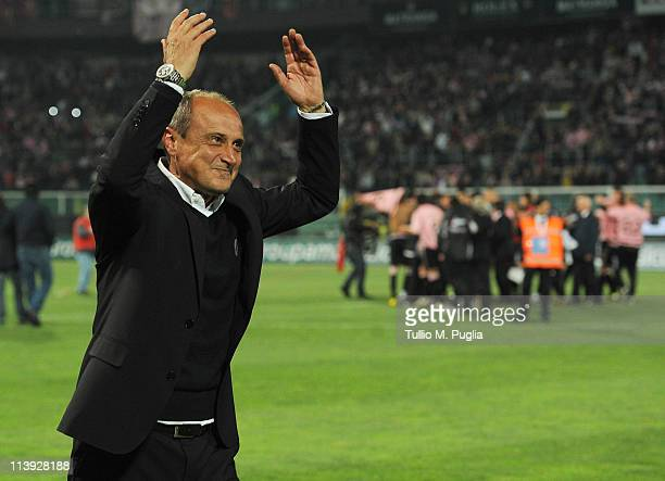 Delio Rossi coach of Palermo celebrates after winning the Tim Cup between US Citta di Palermo and AC Milan at Stadio Renzo Barbera on May 10 2011 in...