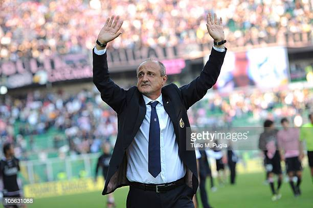 Delio Rossi coach of Palermo greets supporters after winning the Serie A match between US Citta di Palermo and Bologna FC at Stadio Renzo Barbera on...