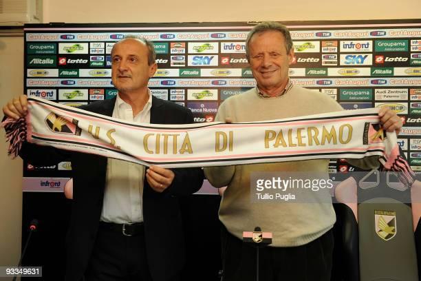 Delio Rossi new coach of Palermo and President Maurizio Zamparini pose before a press conference at Stadio Renzo Barbera on November 24, 2009 in...