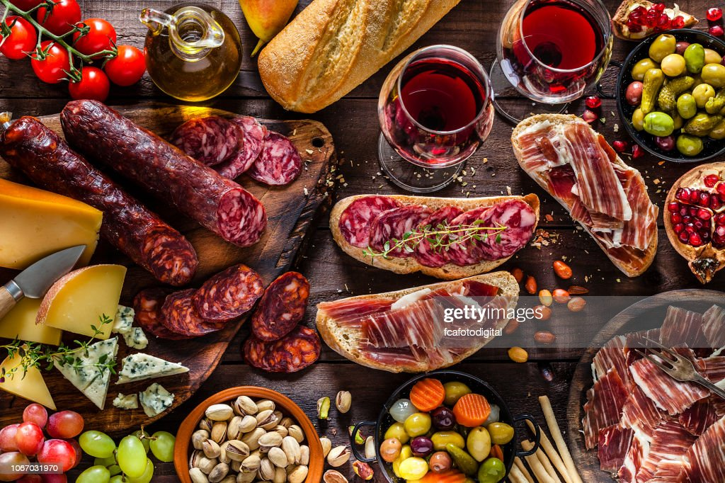 Deliscious appetizer on rustic wood table : Stock Photo