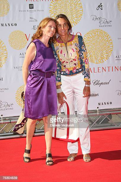Delisena Peronio and Marie Brandolini D'adda arrive at the Ara Pacis for Valentino's Exhibition opening on July 6, 2007 in Rome, Italy.