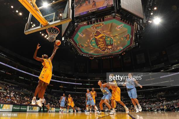 Delisha Milton-Jones of the Los Angeles Sparks blocks a shot from the Atlanta Dream on September 11, 2008 at Staples Center in Los Angeles,...