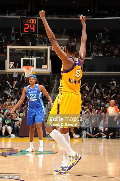 DeLisha MiltonJones of the Los Angeles Sparks celebrates during a game against the New York Liberty at Staples Center on August 25 2012 in Los...