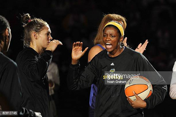 Delisha MiltonJones of the Los Angeles Sparks high fives team mates during the introductions prior to the game against the Seattle Storm on September...