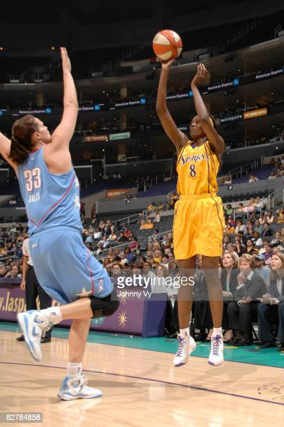DeLisha Milton-Jones of the Los Angeles Sparks shoots over Alison Bales of the Atlanta Dream on September 11, 2008 at Staples Center in Los Angeles,...