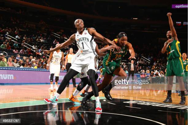 DeLisha MiltonJones of the New York Liberty boxes out for the rebound against the Seattle Storm at Madison Square Garden in New York City on May 27...