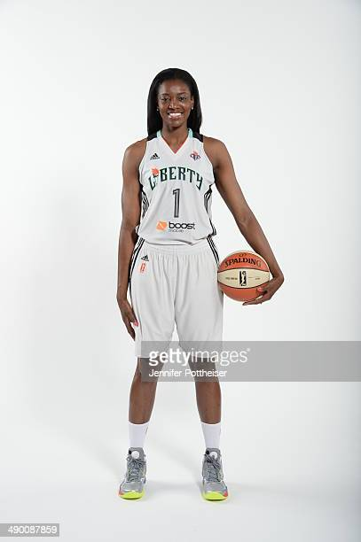 DeLisha MiltonJones of the New York Liberty poses for a portrait during 2014 WNBA Media Day at the MSG Training Facility on May 12 2014 in Tarrytown...