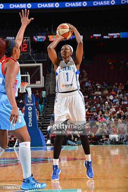 DeLisha MiltonJones of the New York Liberty shoots against the Atlanta Dream during the game on September 6 2013 at Prudential Center in Newark New...