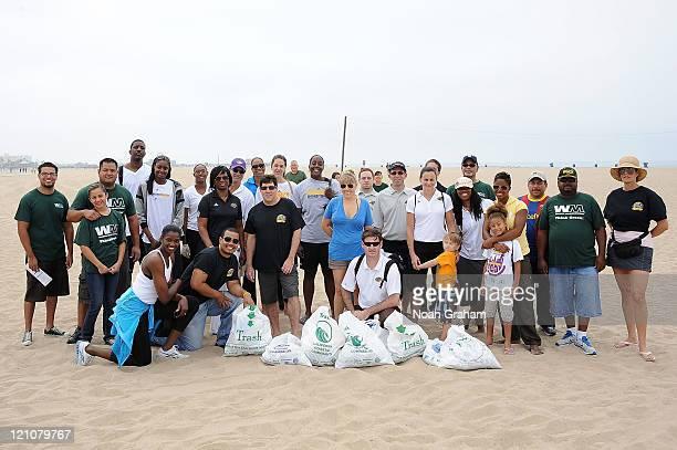 DeLisha MiltonJones Tina Thompson Ebony Hoffman Jenna O'Hea and Latoya Pringle of the Los Angeles Sparks join forces with Waste Management and Heal...
